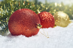 argb background balls blue christmas lights snow Στοκ φωτογραφία με δικαίωμα ελεύθερης χρήσης