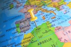 Argel op een kaart van Afrika wordt gespeld dat Stock Foto's