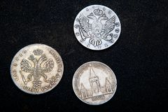 Or argenté russe de vieil argent de pièce de monnaie rétro Photo stock
