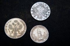 Or argenté russe de vieil argent de pièce de monnaie rétro Photo libre de droits