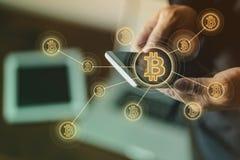 Argent électronique, transferts de blockchain et concept de finances Image stock