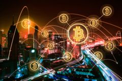 Argent électronique, transferts de blockchain et concept de finances Images stock