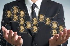 Argent électronique, transferts de blockchain et concept de finances Photos libres de droits
