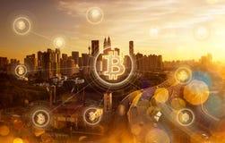 Argent électronique, transferts de blockchain et concept de finances Images libres de droits