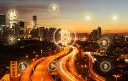 Argent électronique, transferts de blockchain et concept de finances Photos stock