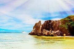 ` Argent, остров источника d Anse Digue Ла Стоковое фото RF