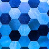 Argent abstrait avec le fond métallique bleu Hexagones géométriques image libre de droits