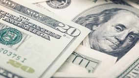 Argent américain de plan rapproché billet de vingt dollars Les USA macro de fragment de billet de banque des 20 dollars Photo libre de droits