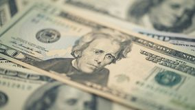 Argent américain de plan rapproché billet de vingt dollars Portrait d'Andrew Jackson, USA macro de fragment de billet de banque d Photos libres de droits