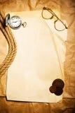 Argent antique avec la montre Photographie stock libre de droits