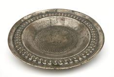 argent antique de plaque Image stock