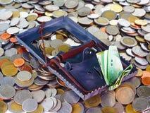 Argent au piège sur des pièces de monnaie Photo stock