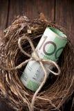 Argent australien de magot de cotisations de retraite Photo libre de droits