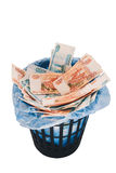 Argent aux déchets Photos stock