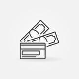 Argent avec l'icône de carte de crédit Image libre de droits