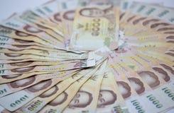 Argent, Bath 1000 thaïlandais de devise vue haute étroite de Bath d'argent d'argent liquide, cercle photographie stock