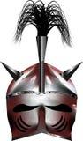 Argent brillant de casque rouge médiéval d'imagination Images stock