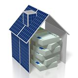 Argent, concept de panneaux solaires Photographie stock libre de droits