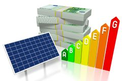Argent, concept de panneaux solaires Image libre de droits