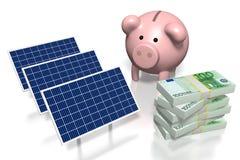 Argent, concept de panneaux solaires Photos stock
