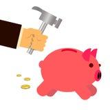 Argent d'économie de banque de porc de fracas Photos stock