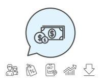 Argent d'argent liquide avec la ligne icône de pièces de monnaie banking Images stock