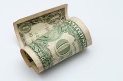 Argent d'argent liquide, un vieux billet d'un dollar Images libres de droits