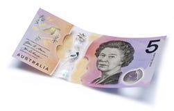 Argent d'Australie note des cinq dollars images stock