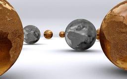 argent d'or de globes Images libres de droits