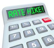 Argent d'emprunt de coût d'intérêt de Rate Hike Calculator Words Increased Photographie stock libre de droits
