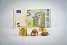 Argent d'euro de petit changement Image libre de droits