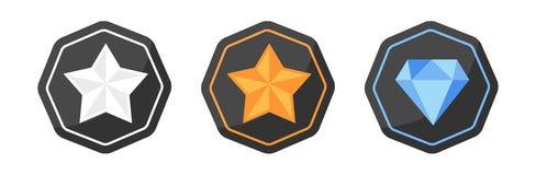 Argent d'icônes de récompenses ou platine, or, diamant Images libres de droits
