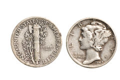 argent d'isolement par dixième de dollar antique Photo stock