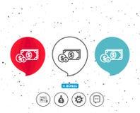 Argent d'argent liquide avec la ligne icône de pièces de monnaie banking Image libre de droits