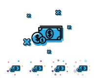 Argent d'argent liquide avec la ligne icône de pièces de monnaie banking illustration libre de droits