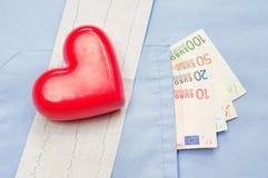 Argent dans la poche d'un uniforme, d'un coeur et d'un électrocardiogramme médicaux Images stock