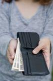 Argent dans le portefeuille Photographie stock libre de droits