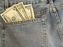 Argent dans ma poche - jeans image stock