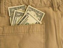 Argent dans ma poche - pantalon kaki Image libre de droits