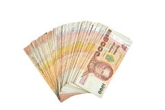 Argent de billet de banque de mille bahts dans l'ensemble de fan sur le CCB blanc d'isolement images stock