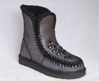 Argent de chaussures avec la botte de femme de fourrure de fausses pierres photos stock
