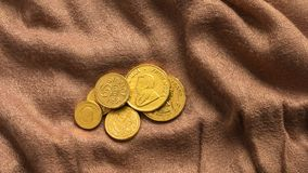 Argent de chocolat, pièces d'or de chocolat Images libres de droits