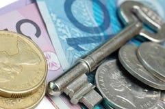 Argent de clé et de l'Australie Image libre de droits