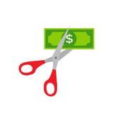 Argent de coupe, ciseaux chez des hommes de mains, illustration de vecteur de billet de banque du dollar de coupe Photographie stock