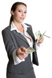 argent de fixation de femme d'affaires Photos libres de droits
