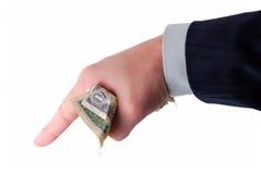 argent de fixation de main d'affaires Images stock
