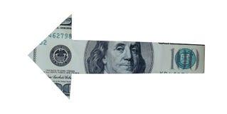Argent de flèche d'isolement sur le blanc avec le chemin de coupure - dir financier Photo libre de droits