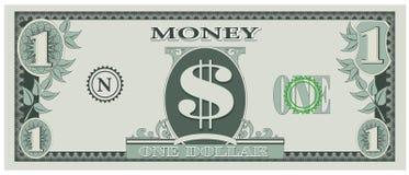 Argent de jeu - un billet d'un dollar illustration stock