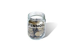 Argent de l'épargne de pension dans le pot Images libres de droits