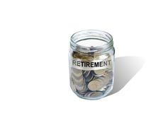 Argent de l'épargne de retraite dans le pot Image stock